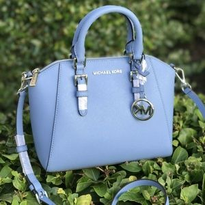 Michael Kors Leather Ciara MD Messenger Bag Blue